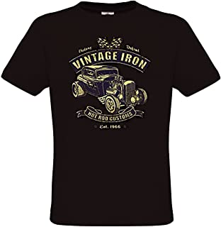 Vintage Iron- Mens Hot Rod T-Shirt Old School Rockabilly Retro Style