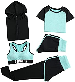 Hooded Yoga Wear 5-pieces Set Women's Sweatsuits Yoga Jogging Tracksuits