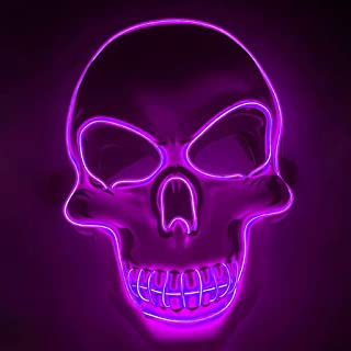Led Glow Cover El Cold Light Horror Cover Skull Cover Purple Home Garden,Furniture,Event Party Supplies,Halloween Led Light Up Cover For Festival Cosplay Costume Masquerade Parties