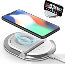 QI Wireless Charging Stand,Bavin 10W Fast Wireless Charging Pad Compatible for iPhone XR/8/8Plus/X,Samsung S6/S7/S8/S8P/S9/S9P/Note8,Google Mexus 4/5/6/7,and All Qi-Enabled Phones (No AC Adapter)