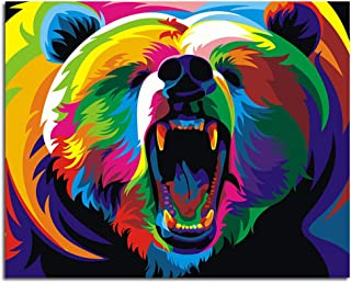 iFymei DIY Oil Painting Kit , Paint by Numbers for Adults & Kids & Beginner , 16 x 20 inch Canvas & Acrylic Paints - Colorful Bear
