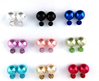 Adecco LLC 9 Pairs Bling Rhinestone Polymer Clay Studs Pearl Button Earrings, Double Ball Earring, Jewelry Piercing Ear Ring