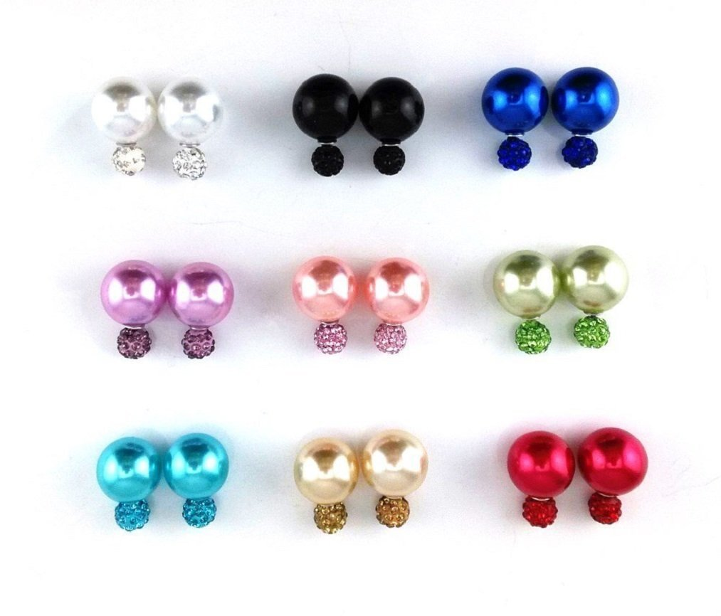 Adecco Bombing new work LLC 9 Max 58% OFF Pairs Bling Rhinestone But Studs Polymer Clay Pearl