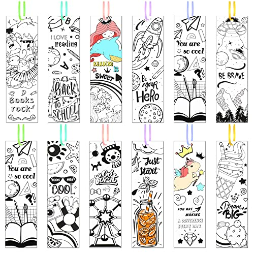 108 Pieces Color Your Own Bookmarks Inspirational Bookmarks for Kids Students, DIY Motivational Coloring Paper Bookmarks for Teachers Students Cute Bookmarks Birthday Reading DIY Supplies