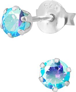 Hypoallergenic Sterling Silver Aurora Borealis Aqua Crystal Round Stud Earrings for Kids (Nickel Free)