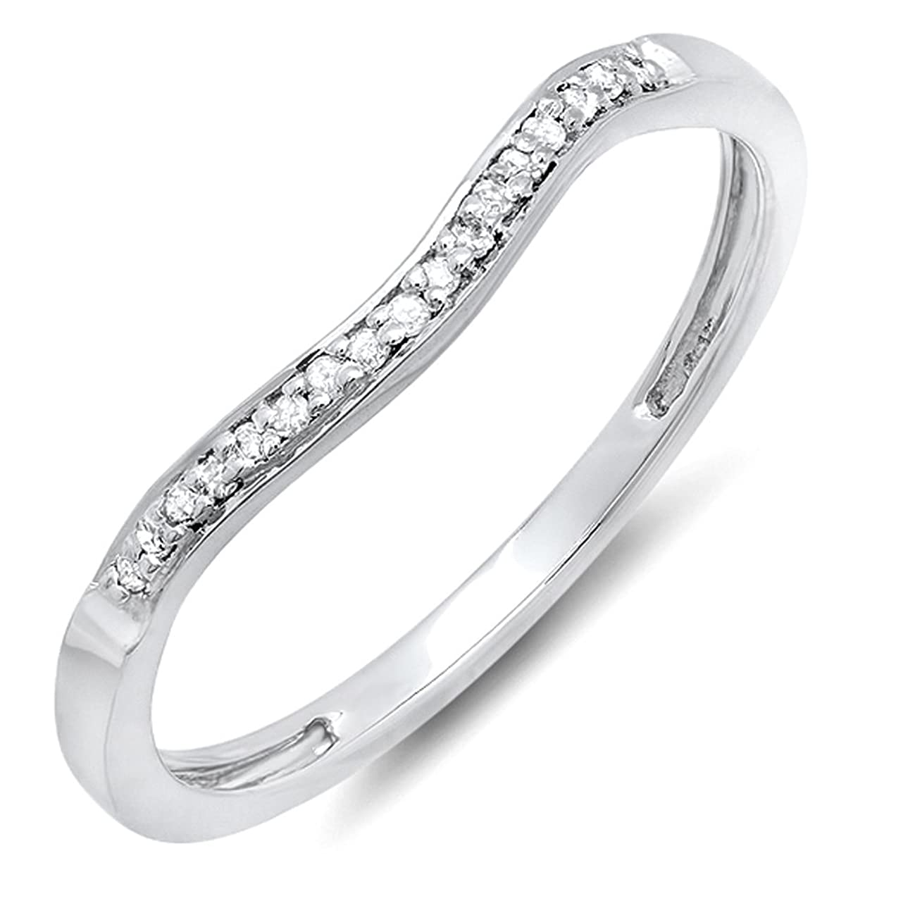 Dazzlingrock Collection 0.10 Carat (ctw) Round Diamond Ladies Anniversary Wedding Band Guard Ring 1/10 CT, Sterling Silver