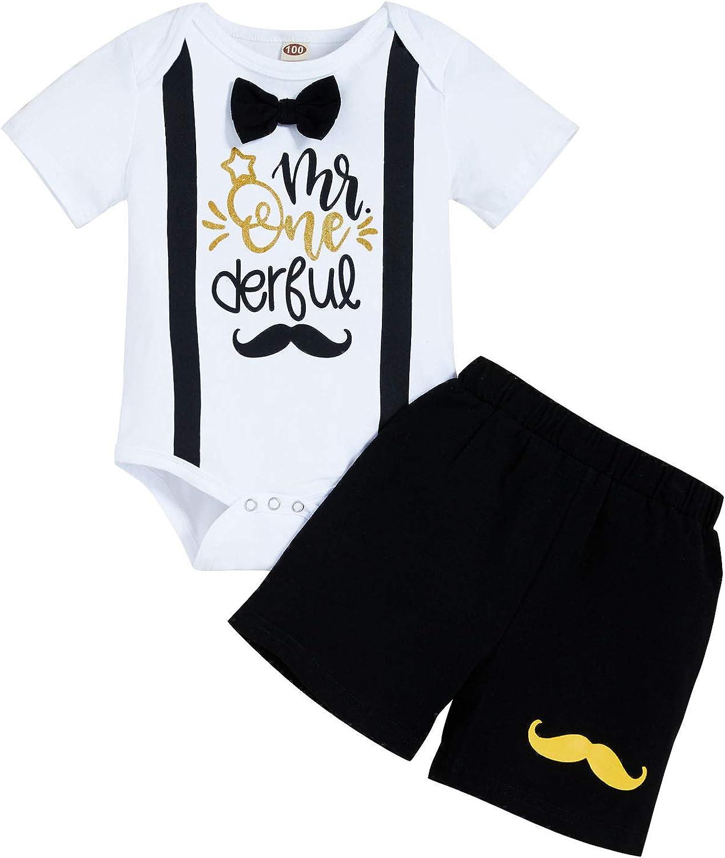 Viworld Baby Boy 1st Birthday Shorts Set Infant Boy Mr.Onederful Gentleman Romper + Shorts Cake Smash Outfits