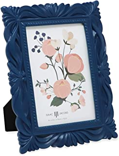 Isaac Jacobs 4x6 Navy Wave Textured Hand-Crafted Resin Picture Frame with Easel & Hook for Tabletop & Wall Display, Decorative Swirl Design Home Décor, Photo Gallery, Art, More (4x6, Navy)