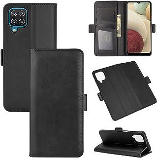 Capa Capinha Carteira De Couro Preta Para Samsung Galaxy A12 com Tela de 6.5 Polegadas Flip Magnética com Suporte e Slot p...