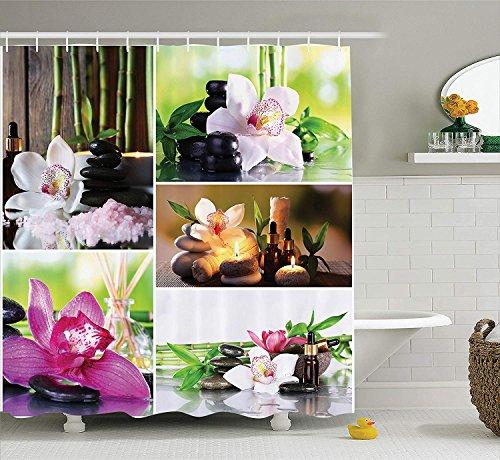 Yeuss Home Decor Collection,Spa Day Collage avec orchidées et Galets de Pierre,huiles essentielles à Base Plantes,Traitement pour Le Corps l'esprit,Rideau Douche en Tissu