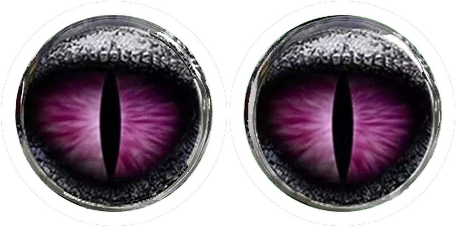 HYPOALLERGENIC Dragon Eye Earrings for Men Girls Earings Womens Scale Glitter 3D Button Shape Unisex Purple Black