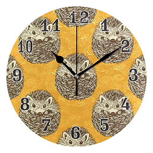JYSXAD CPYang Sketch Lindo Reloj de Pared de Erizo, silencioso Reloj Decorativo Redondo sin tictac para el hogar, Sala de Estar, Dormitorio, Cocina, O Moderno