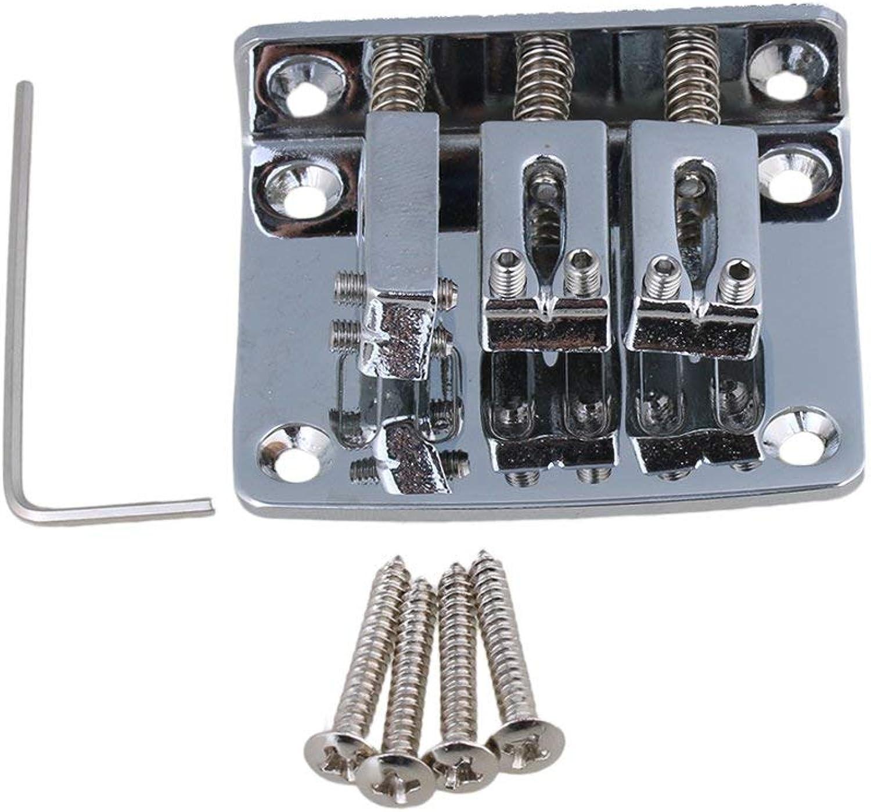 Yibuy 3 String Cigar Box Guitar Bridge Tailpiece & Screws & Wrench Zinc Alloy Silver