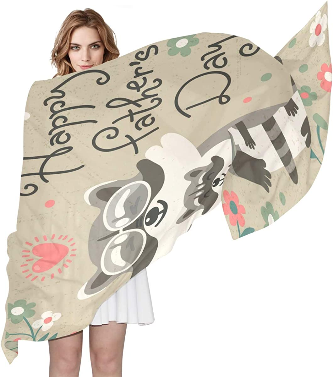 XLING Fashion Scarf Happy Father's Day Animal Raccoons Long Lightweight Sunscreen Scarf Shawl Wrap Muffler Neckerchief for Women Men