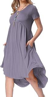 levaca Women's Scoop Neck Pockets High Low Pleated Loose Swing Casual Midi Dress