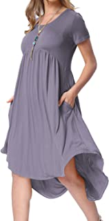 Women's Scoop Neck Pockets High Low Pleated Loose Swing Casual Midi Dress