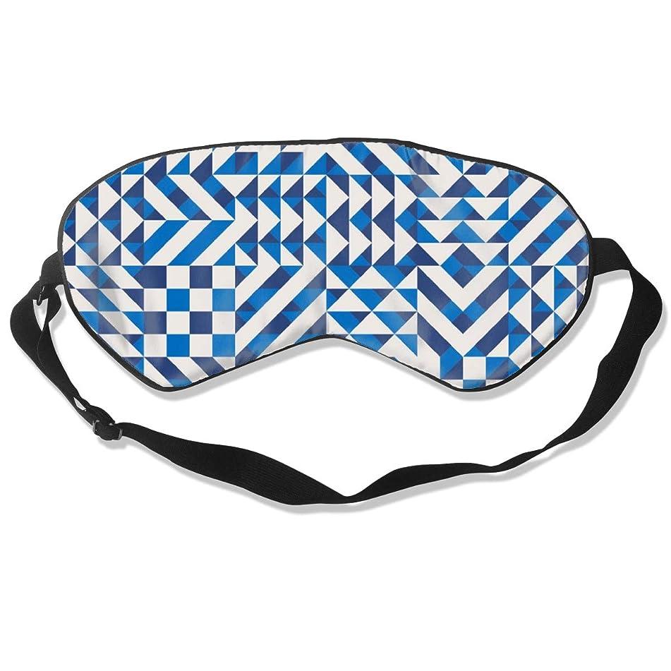 GRFER Blue and White Irregular Geometric Blocks Best Sleep Mask Travel, Nap, Adjustable Belt Eye Mask for Men and Women