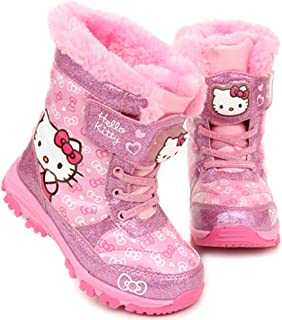 Hello Kitty Girls Light Up Winter Pink Warm Cute Snow Boots (Parallel Import/Generic Product)