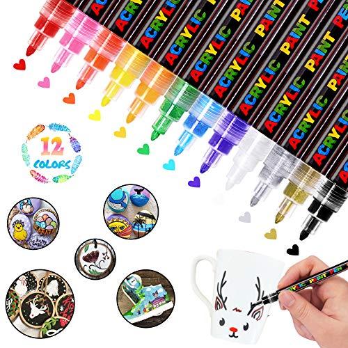 WONSAR Acrylstifte für Steine Bemalen 12 Farben Marker Stifte Wasserfest Acrylstifte für Holz Leinwand Metall Papier Glas Keramik Porzellan Becher Kunststoff Kinder DIY (Fine Spitze)