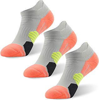 NIcool Men's Running Socks, Low Cut Performance Athletic Drifit Socks for Running, Tennis, Golf, Hiking, 3 Pairs, Grey