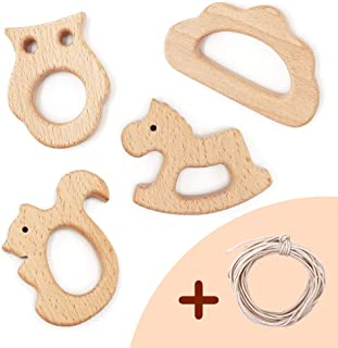 DILIMI Wooden Baby Teether 4 Piece Set(Squirrel/Cloud/Owl/Horse) Wooden Teether for Toddler, Soothing Pain Relief Toys
