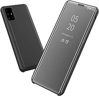 جراب لهاتف اوبو A52 / A72 شفاف بمرآة ستاند بغطاء هاتف قلاب غير ذكي - اسود