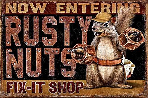 AshBro Rusty Nuts Fit It Tin Sign compliments Hot Rod Harley Davidson Garage Decor Vintage Tin Signs Retro Garage Poster Bar Wall Sign Pin Up Garage Sign Garage Decor Metal Signs for Men Tin Sign 12x8