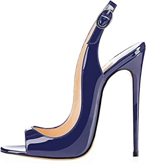 EDEFS Scarpe Peep Toe Donna Slingback Sandali Tacco a Spillo con Cinturino Caviglia Fibbia