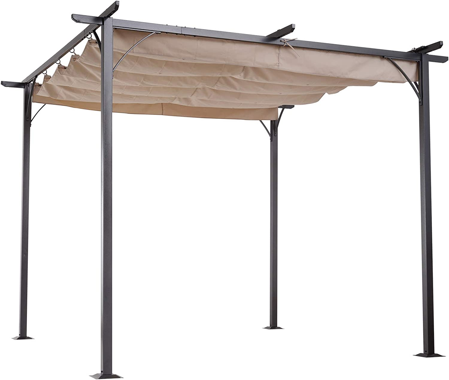 Outsunny 20' x 20' Retractable Patio Gazebo Pergola with UV Resistant  Outdoor Canopy & Strong Steel Frame