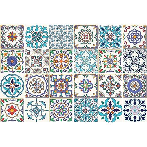 Ambiance-Live 24Aufkleber Fliesen | Sticker Selbstklebend Fliesen–Mosaik Fliesen Wandtattoo Badezimmer und Küche | Fliesen Kleber–Patchwork–10x 10cm–24-teilig