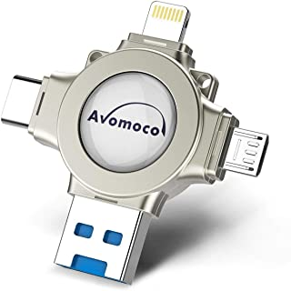 Avomoco 3.0 256GB 4 in 1 Flash Drive Compatible iPhone &Ipad and Android Phones Type C Devices,Tablets .Photo Stick for iPhone&Ipad Samsung Galaxy,LG,Google Pixel,Hua Wei