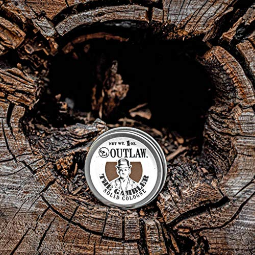 Outlaw The Gambler Bourbon-Inspired Solid Cologne - The Luckiest Scent Around - Whiskey, Old-fashioned Tobacco, and a Hint of Leather in a Pocket-Sized Tin - Men's or Women's Cologne - 1oz.
