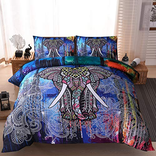 Bedding Set Meeting Story 3PC India Bohemian Trooster sprei Elephant Boho Mandala microfiber Quilt Bedding Sets Quilt Set (Color : Multi-colored, Size : 210 * 210)