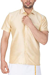 RIRO Men's Plain Silk Cotton Regular Fit Formal/Traditional/Ceremony/Casual/Business/Plain Half Sleeve Shirts (Focus Shirt Colour) Available Size of 36/38 / 40/42 / 44