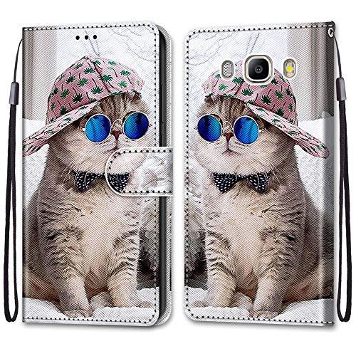 i-Case Funda del Teléfono Móvil para Samsung J5 2016, PU Billetera de Cuero Patrón de Moda Carcasa Flip Case Cartera PU Cuero Funda con Soporte para Samsung Galaxy J5 2016,Gato de Gafas Azules