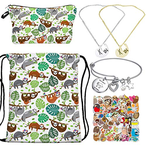 RLGPBON Sloth Drawstring Backpack,Makeup Bag with Necklace Gifts,Sloth Charm Bracelet,Sloth Stickers 50pcs,Animal Jewelry Sloth Lover Gift, Christmas Day Gift