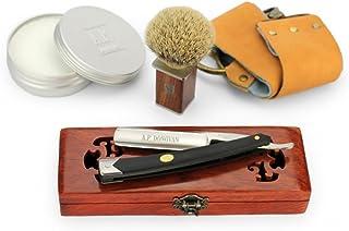 "A.P. Donovan - Solides Rasiermesser 7/8"" - Carbon-Stahl, schwarzer Kunststoffgriff (Pinsel, Seife, Paste, Leder-Streichrie..."