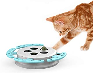 Cat Hunt Toy Interactive Whack A Mole Mouse Cat Toy Cat Teaser Toys for Cat Hunting Licking Playing Exercising 5 Holes