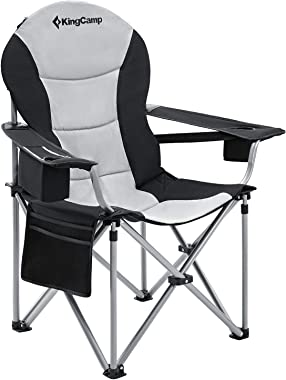 KingCamp Camping Chair with Lumbar Back Support, Padded Folding Chair with Cooler, Armrest, Cup Holder, Oversized Quad Camp C