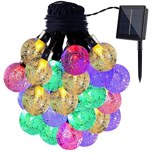 Solar Globe Fairy String Lights GDEALER 20ft 30 LED Crystal Ball Waterproof Outdoor String Lights Solar Powered Globe Fairy String Lights for Outside Garden Yard, Home Landscape Halloween Christmas Party-RGB(1 Pack)