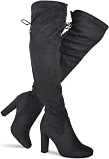 Women's Thigh High Stretch Boot - Trendy High Heel Shoe - Sexy Over The Knee Pullon Boot - Comfortable Easy Heel