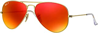 Ray-Ban Aviator Unisex Sunglasses Gold Frame Orange Flash Lenses. 62mm (large size). UV Protection and Maximum Comfort. 100% Authentic. Made in Italy.
