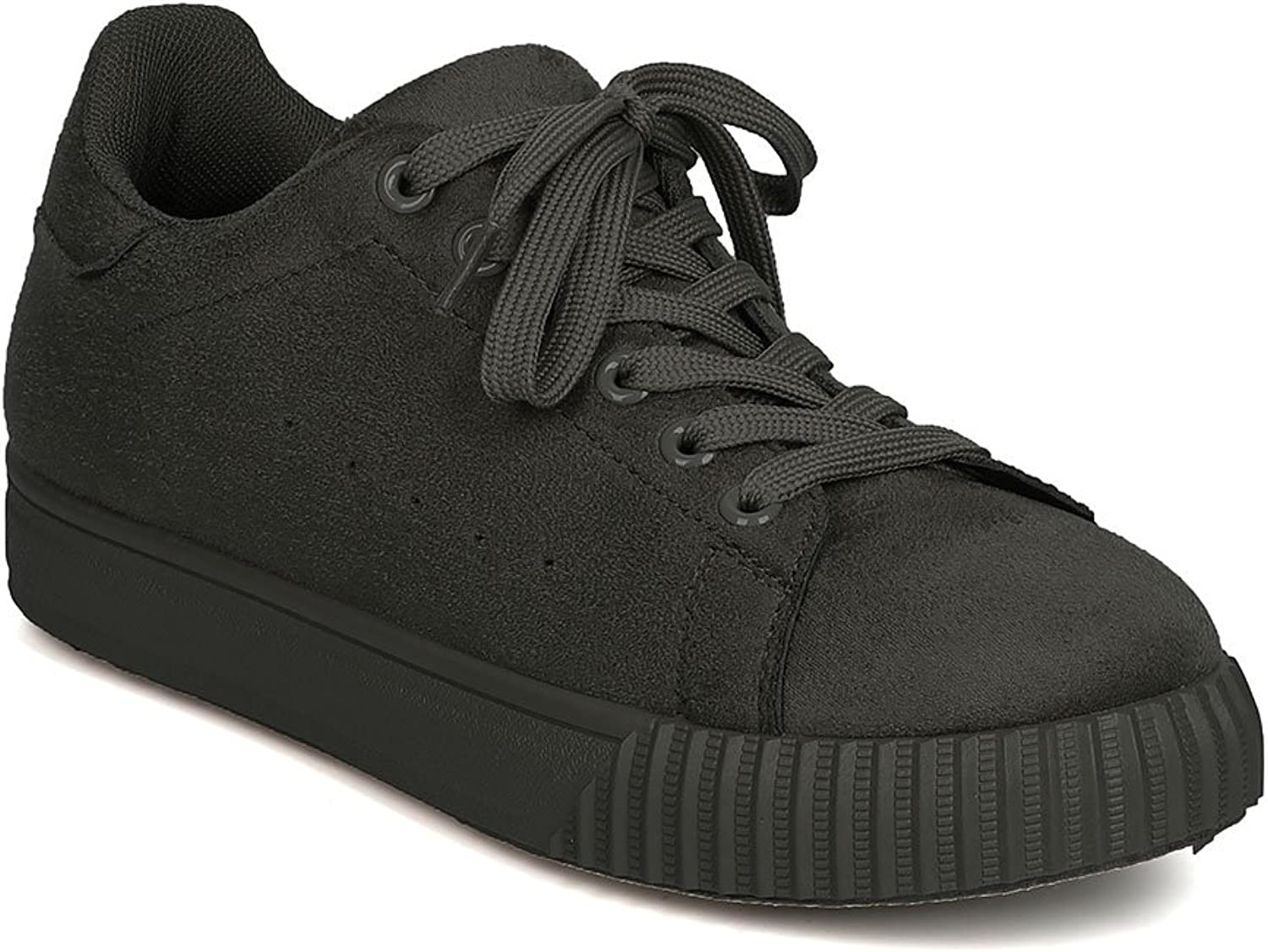 Qupid GA21 Women Faux Suede Round Toe Lace Up Sneaker