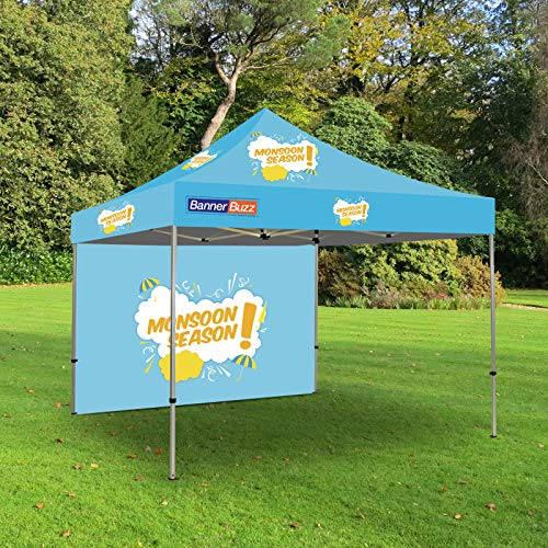 BANNER BUZZ MAKE IT VISIBLE 6'x6' Custom Ez Pop Up Canopy Tent & Back Wall (Single Side Print). Instant Shelter Portable Pop-Up Canopy Tent with Wheeled Carry Bag