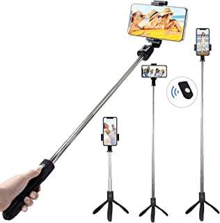TERSELY Bluetooth Wireless Selfie Stick, 2in1 Tripod Stand with Shutter Remote, Rear Mirror for iPhone 11 Pro Max XR, Sams...