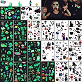Tatuajes Temporales Niños Pegatinas 300 Luminosos Tatoos Infantiles Stickers, Set Horror de Tatuaje Mixto Calabaza Cráneo Murciélagos Fantasmas Arañas Payasos,Regalos Para Cumpleaños Infantiles(20)