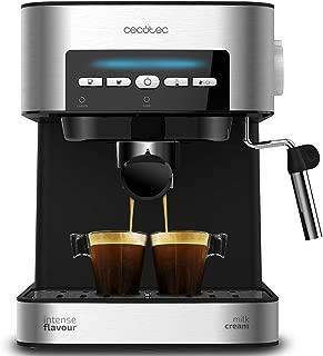 Cecotec Cafetera Espresso Power Espresso 20 Matic. Presión 20 Bares, Depósito de 1,5l, Brazo Doble Salida, Vaporizador, Superficie Calientatazas, Mandos Digitales, Acabados en Acero Inoxidable, 850W