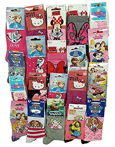 Disney Socks And Underwear - Chaussettes Licence fantaisie en Coton Vendu en Pack Surprise -Assortiment modèles photos selon arrivages- Pack de 10 Paires Fille 23/26