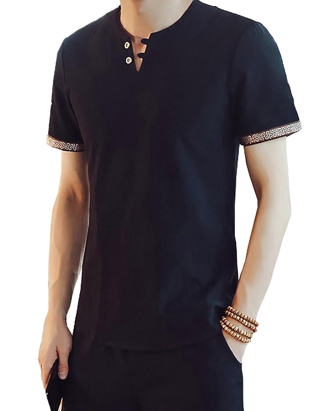 一時的促進する脱臼する[Agree With(アグリーウィズ)] カットソー 麻 Tシャツ Vネック 無地 自然素材 半袖 カジュアル オシャレ メンズ