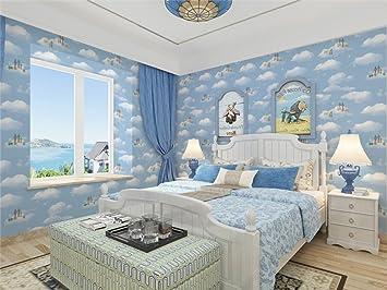 Cloud Sky Wallpaper For Kids Girls Boys Bedroom Living Room Tv Background Wall Corner Decorations Skyblue Amazon Com